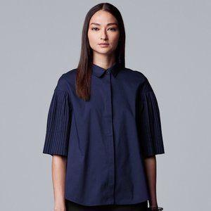 Vera Wang Navy Blue Pleat Sleeve Shirt M